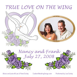 CD jacket cover with doves and roses, personalized with photo