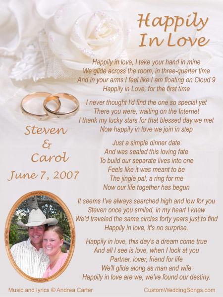 Custom Wedding Songs Lyric Sheet C