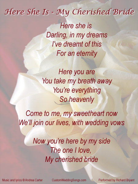 Wedding Bridal Entrance Song Lyric Sheet