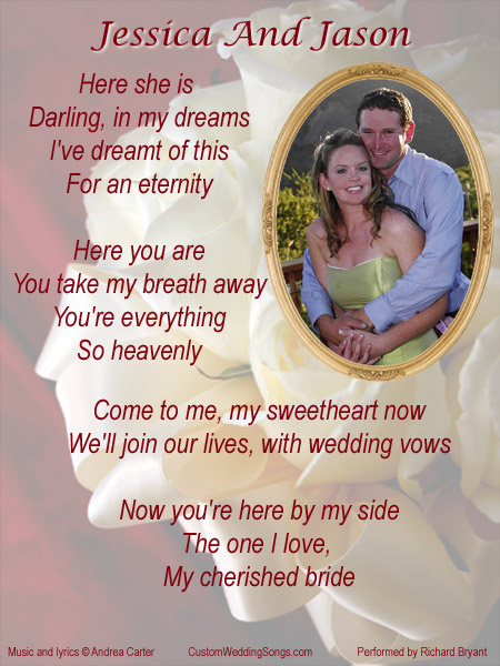 Lyric sheet with wedding bouquet, including lyrics