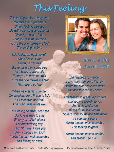 Sample first dance wedding song lyric sheet