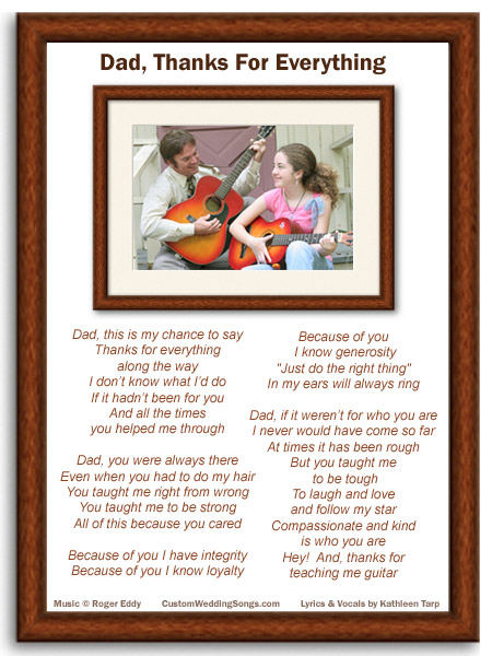 Lyric sheet for original wedding father/daughter dance song