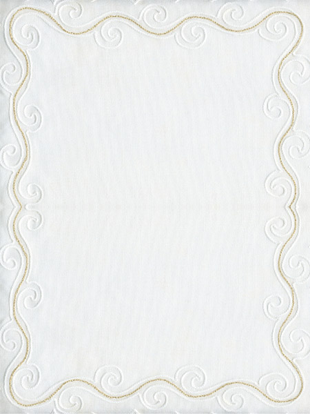 Blank lyric sheet with white and gold scroll,
